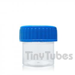 Pot pour échantillons solides avec couvercle vissant bleu 30ml